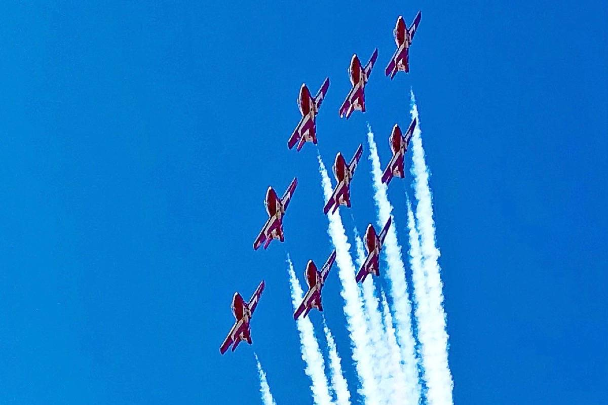 The Snowbirds conduct a flyover of Vancouver International Airport Thursday (July 15, 2021). (Contributed photo)