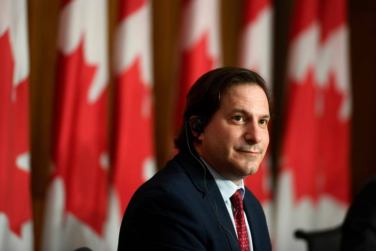 Minister of Immigration, Refugees and Citizenship Marco Mendicino speaks at a news conference in Ottawa, on Monday, June 14, 2021. THE CANADIAN PRESS/Justin Tang