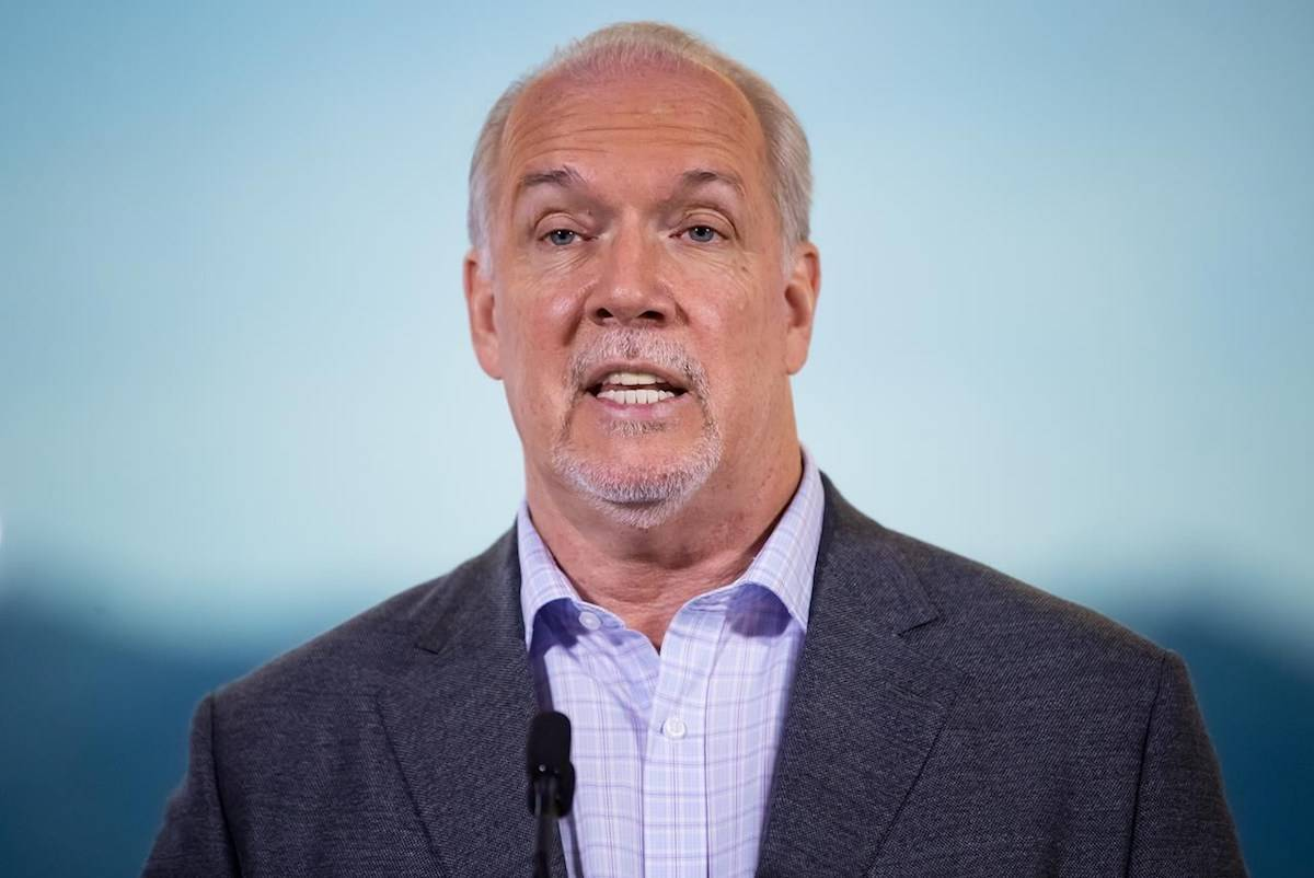 B.C. Premier John Horgan responds to questions during a postelection news conference in Vancouver, on Sunday, October 25, 2020. THE CANADIAN PRESS/Darryl Dyck