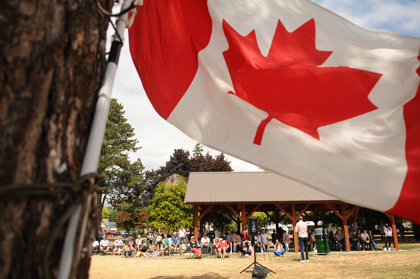 Maxime Bernier, leader of the People's Party of Canada, speaks during a stop on his Mad Max Summer 2021 Pre-Election Tour at Yarrow Pioneer Park on Saturday, July 17, 2021. (Jenna Hauck/ Chilliwack Progress)