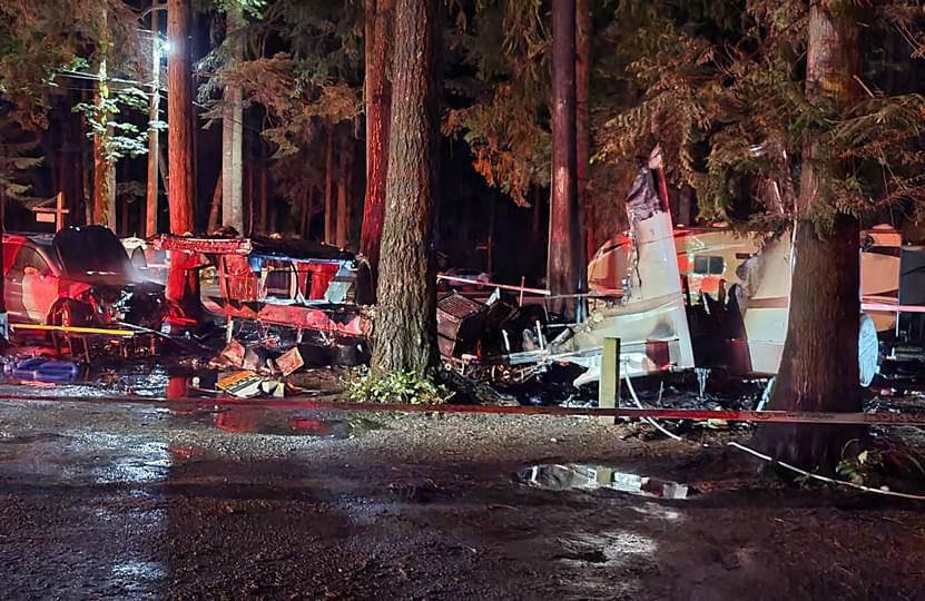 The remnants of a burned out trailer at Cultus Lake's Sunnyside campground after a fire in the early hours of Wednesday, July 14, 2021. (Facebook photo)