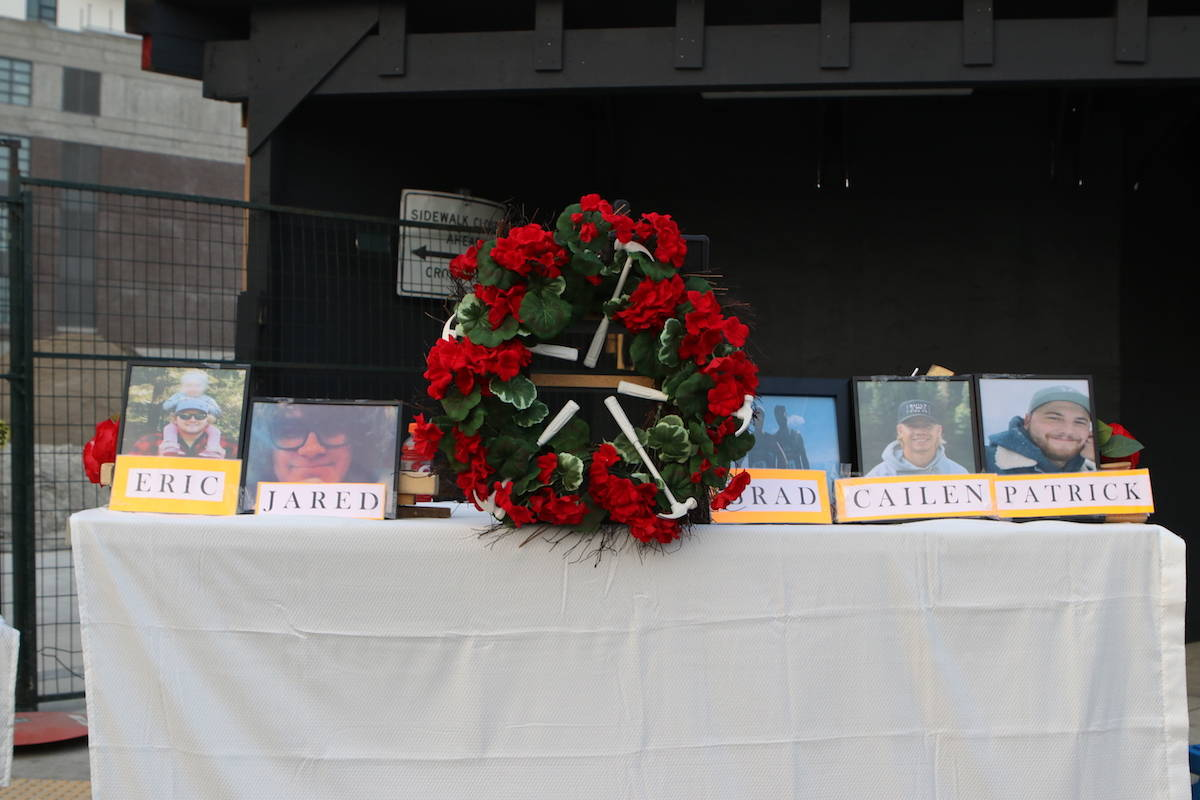 Photos of the five victims of the crane collapse in downtown Kelowna on July 12 - Eric Stemmer, Jared Zook, Brad Zawislak, Cailen Vilness and Patrick Stemmer. (Aaron Hemens/Capital News)