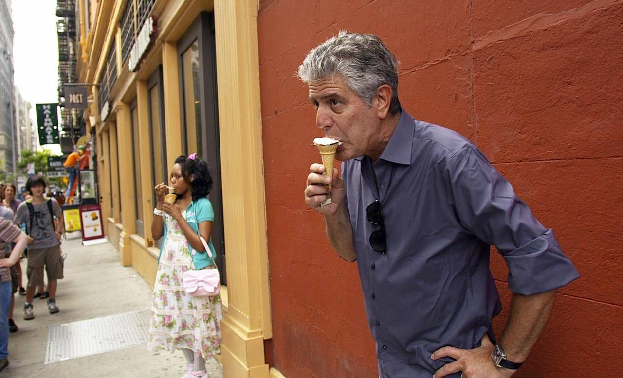 """This image released by Focus Features shows Anthony Bourdain in Morgan Neville's documentary """"Roadrunner."""" (Focus Features/AP)"""