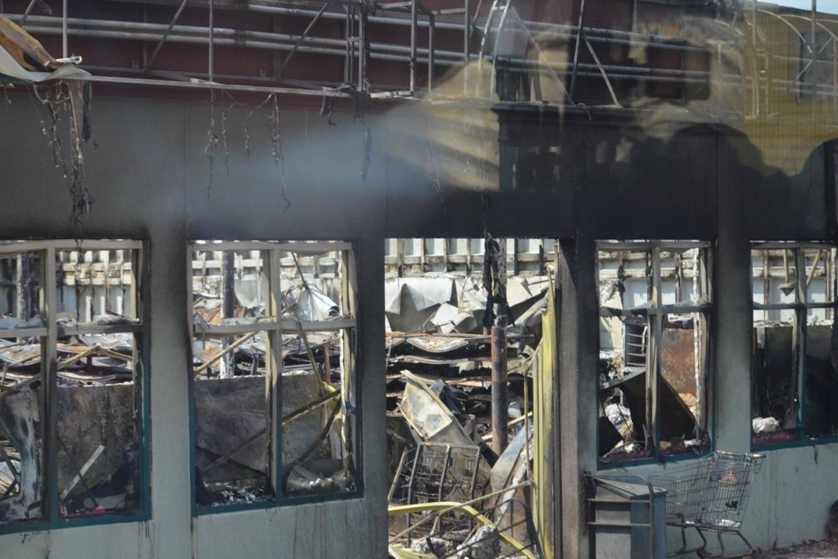 The interior of the Lytton Super Foods building shows the extent of the fire. (Photo credit: Barbara Roden)