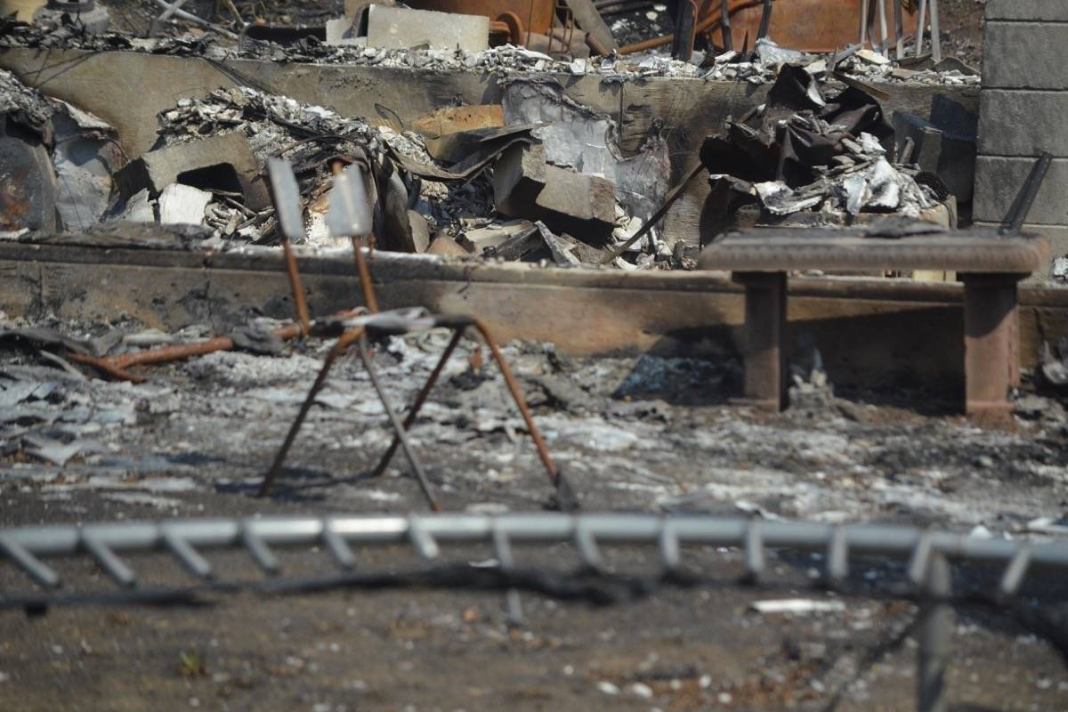 Burned chair at a property in Lytton, July 9, 2021. (Photo credit: Barbara Roden)