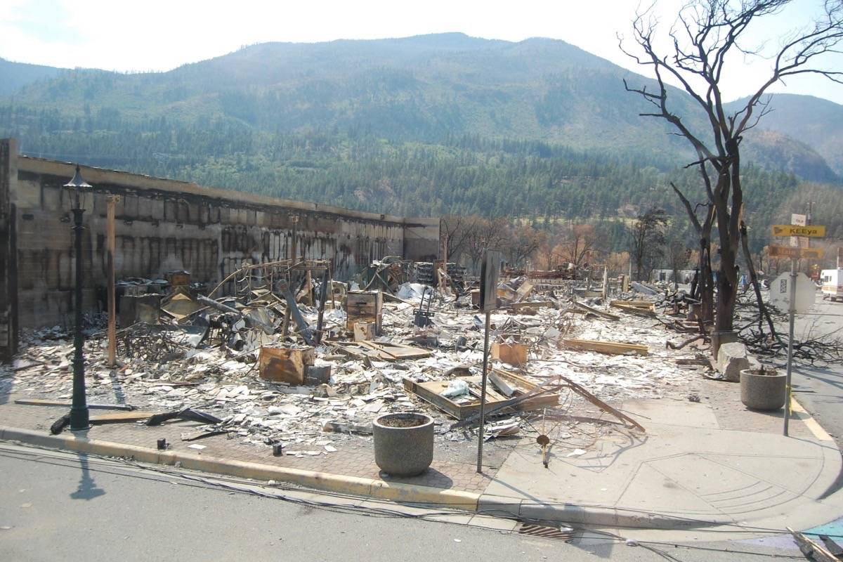 Site of the Lytton village office and Lytton library, July 9, 2021. (Photo credit: Barbara Roden)