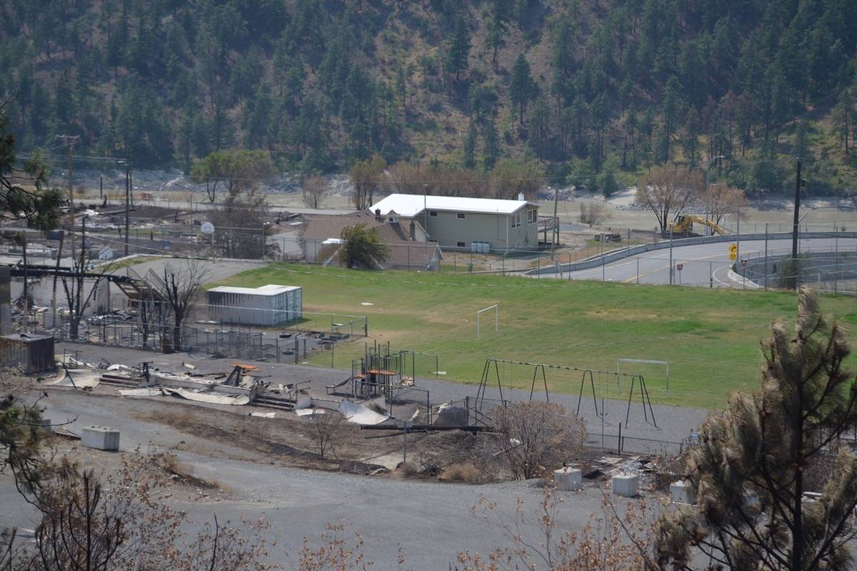 The remains of Lytton Elementay school at left, July 9, 2021. (Photo credit: Barbara Roden)