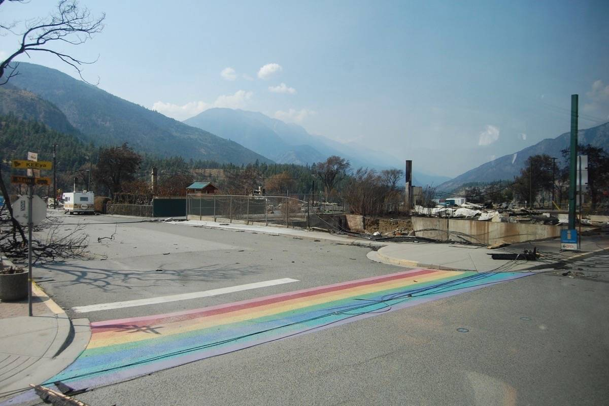 The recently repainted rainbow crosswalk in Lytton, July 9, 2021. (Photo credit: Barbara Roden)