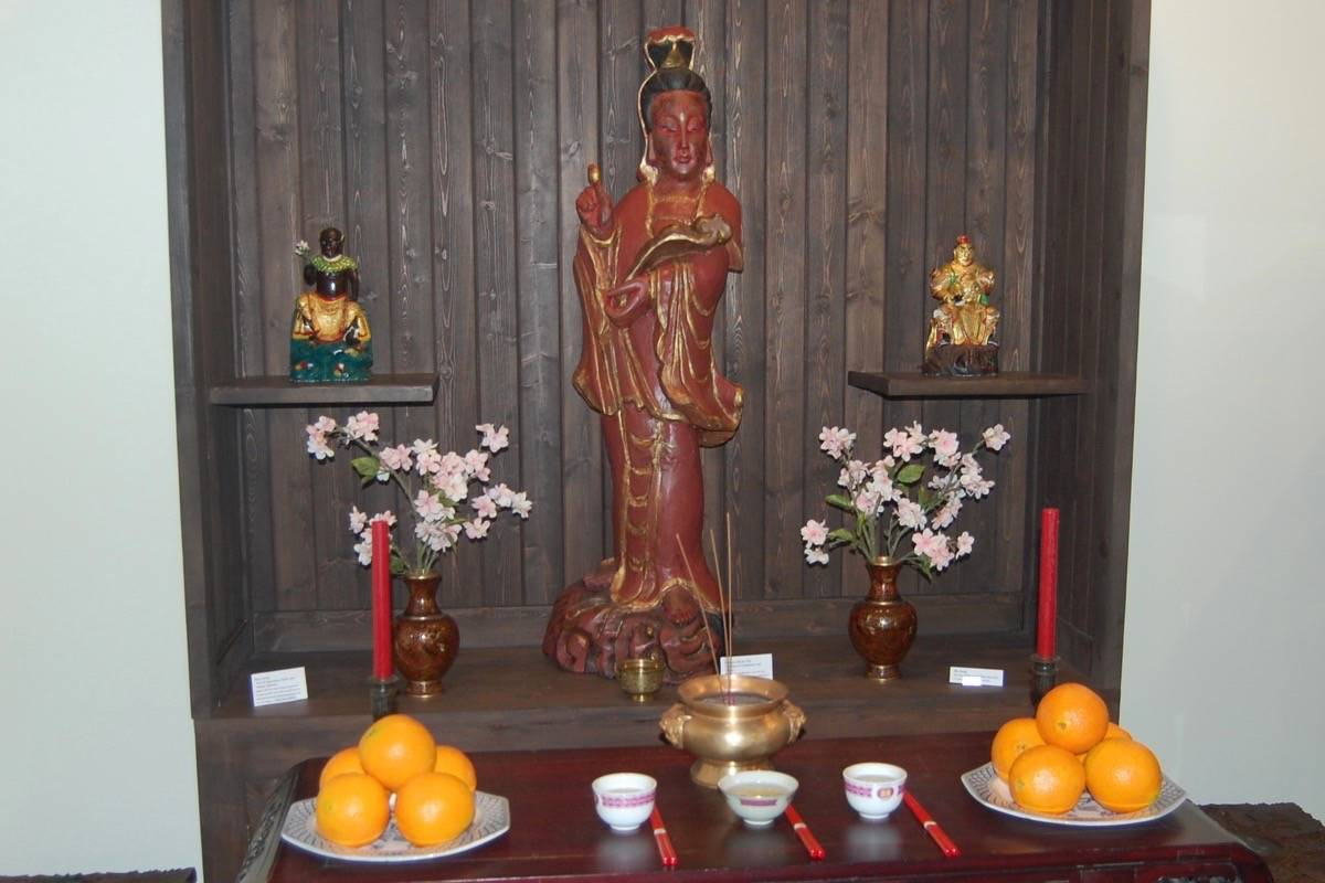 The altar of the Lytton Chinese Museum, with Quan Yin, the Goddess of Mercy, in the centre, May 13, 2017. (Photo credit: Barbara Roden)