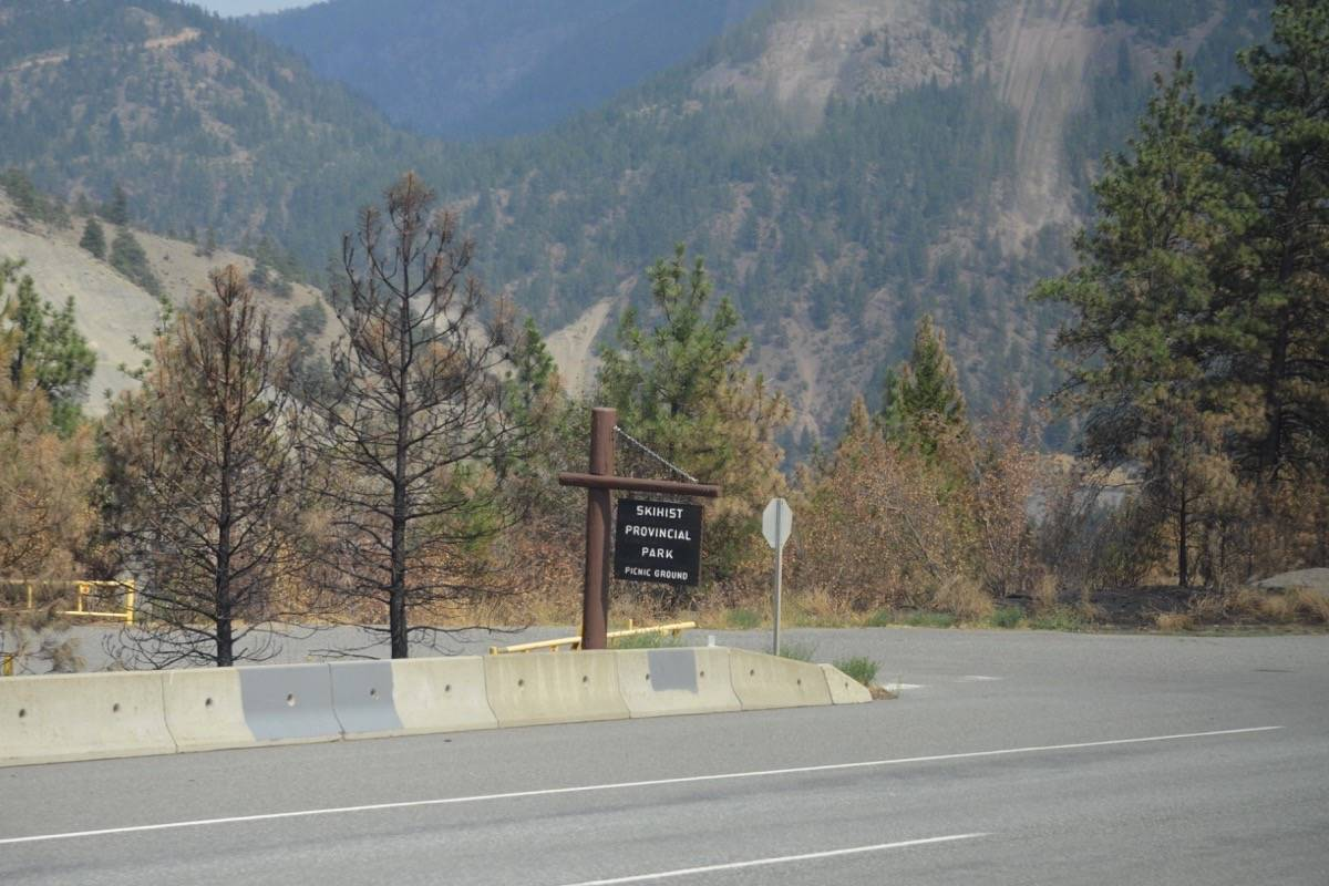 Charred trees near the entrance to Skihist Provincial Park north of Lytton, July 9, 2021. (Photo credit: Barbara Roden)