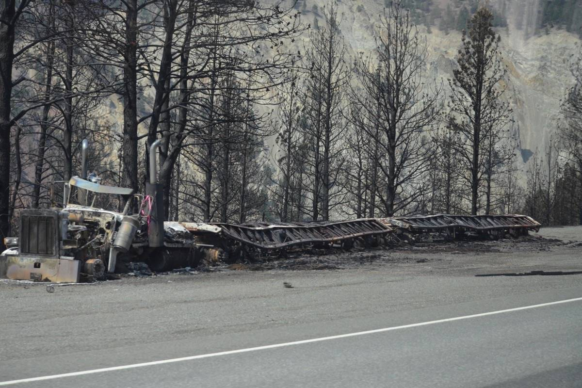 A melted semi north of Lytton on Highway 1, July 9, 2021. (Photo credit: Barbara Roden)