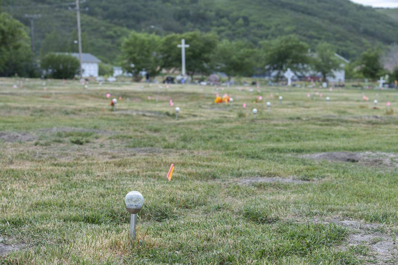 The site of a former residential school where, last month, ground-penetrating radar detected a potential 751 unmarked graves in Cowessess First Nation, Sask., Tuesday, July 6, 2021. THE CANADIAN PRESS/Liam Richards