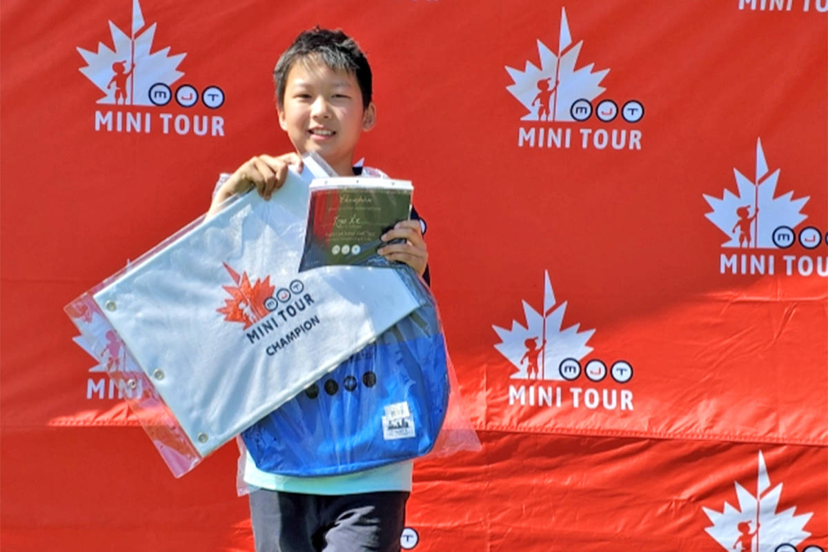 Surrey's Tiger Xie, 10 (pictured), emerged the winner in the extra holes over Langley golfer Ryan LePrieur, 12, at the Maple Leaf Junior Golf Tour's MJT Mini Tour at Cheam Mountain Golf Course on July 15. (MJT)