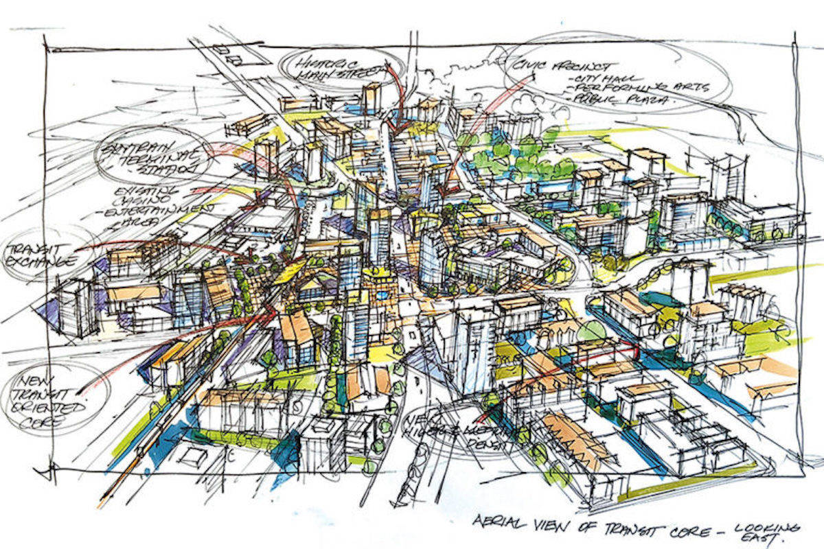 How downtown Langley City might look under the new OCP plan. (City image/file)