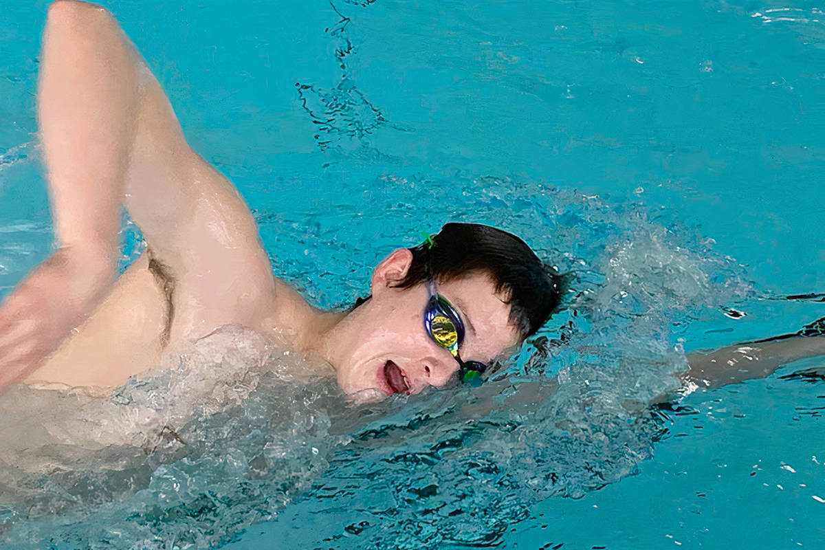 LOSC member Hugh McNeill, seen here practicing at the Walnut Grove pool in Langley in March, won first in in the 17 and over category of the #RaceAgain virtual swimming competition. (Sevi Parr/Special to Langley Advance Times)