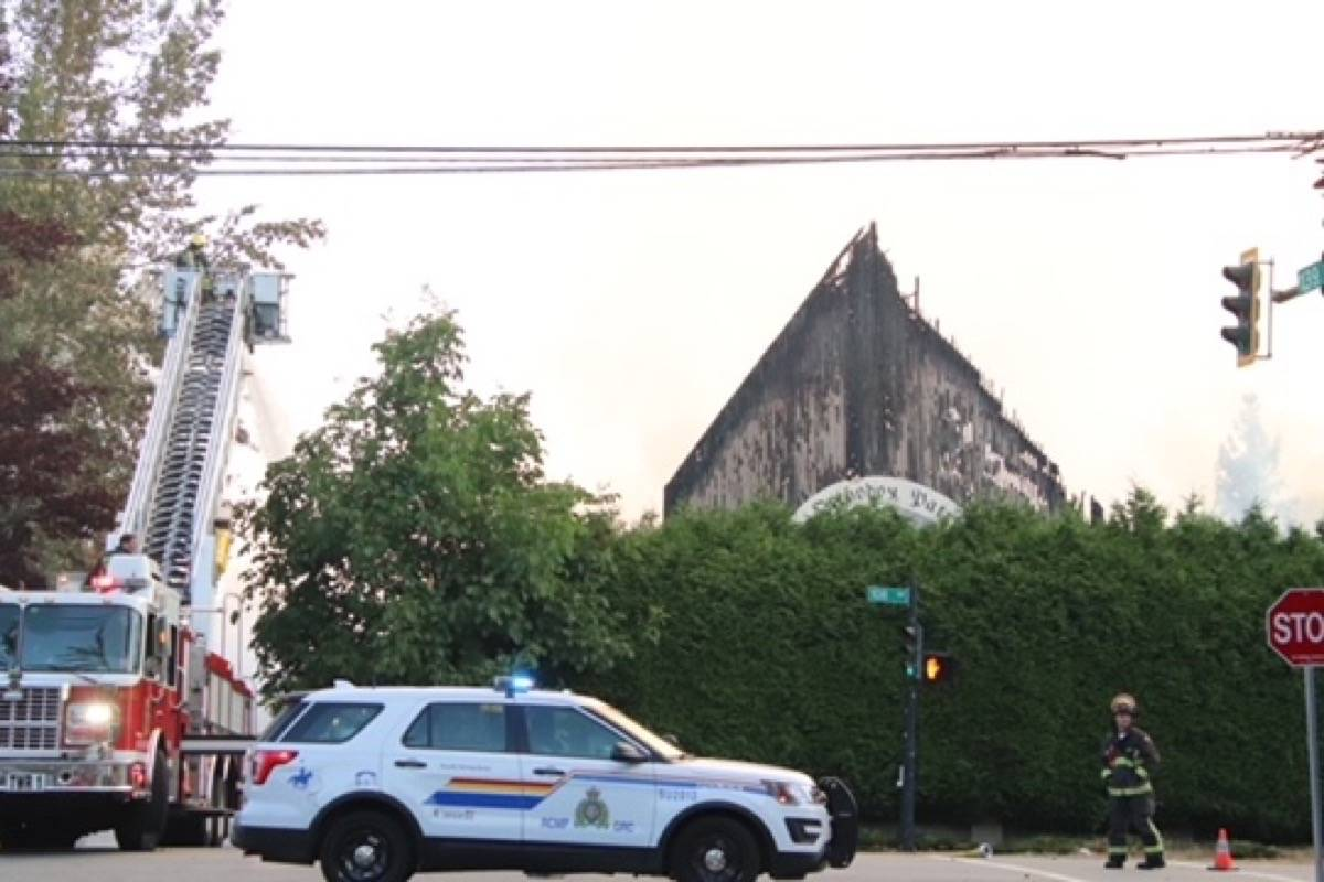 A Whalley church was destroyed by fire early Monday (July 19, 2021) morning. (Shane MacKichan photo)