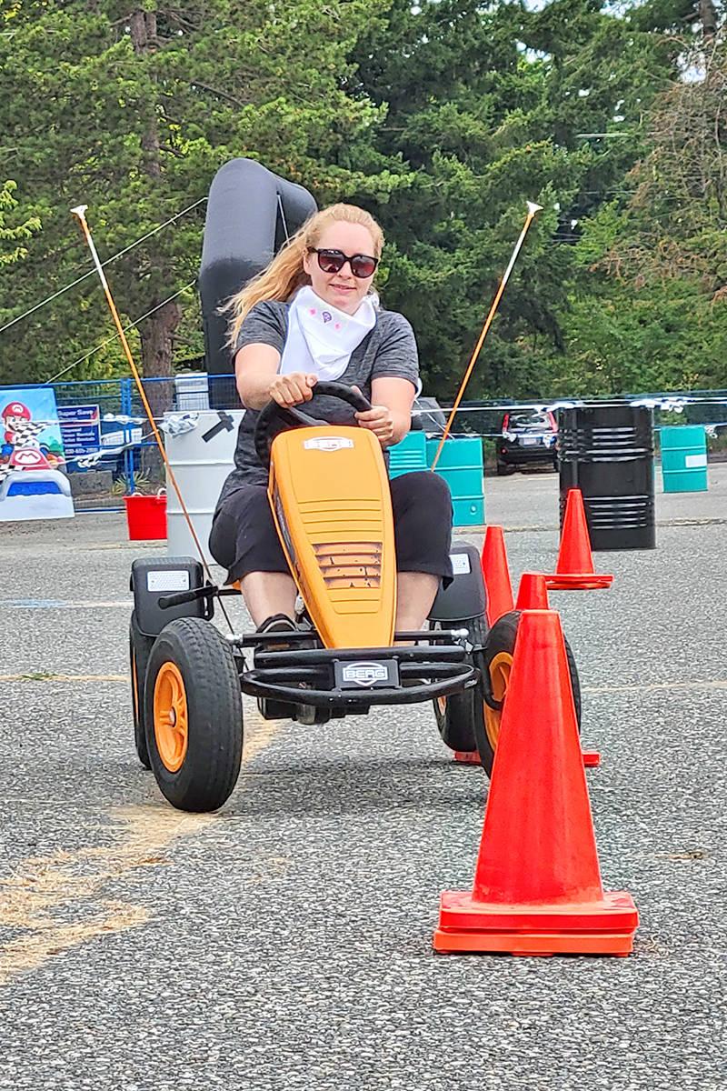 Alissa Lanteigne tore through the slalom course at the SouthRidge Speedway go kart fundraiser in Aldergrove on Saturday, July 17. 'We're pretty competitive,' she said. (Dan Ferguson/Langley Advance Times) (Dan Ferguson/Langley Advance Times)
