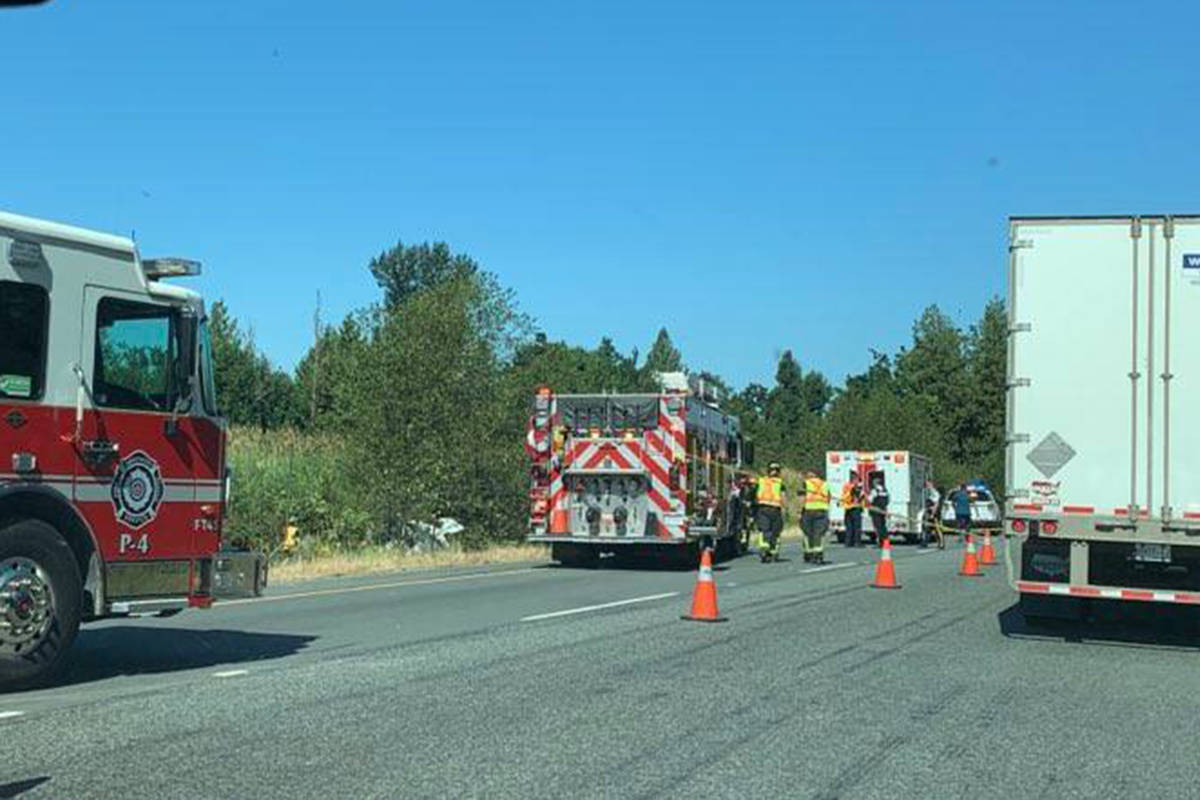 First responders are on scene of an emergency westbound on the Trans-Canada Highway at Bradner Road in Abbotsford, Monday, July 19, 2021. (Special to Langley Advance Times)