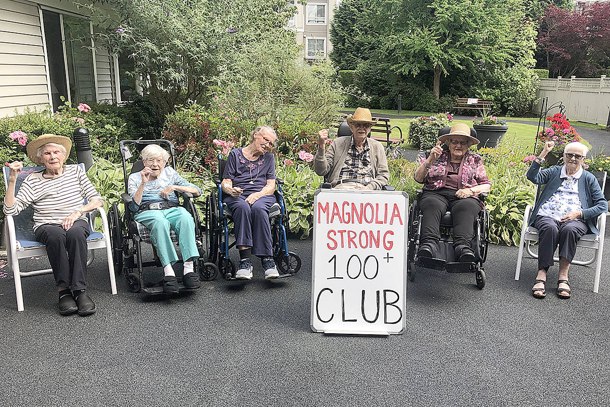 """The club includes (left to right) Gwendoline """"Peg"""" Grant, Anna """"Marge"""" Britton, Ethel Paterson, and Noel Butcher, Agnes Thompson, and Murial Morgan. (Special to Langley Advance Times)"""