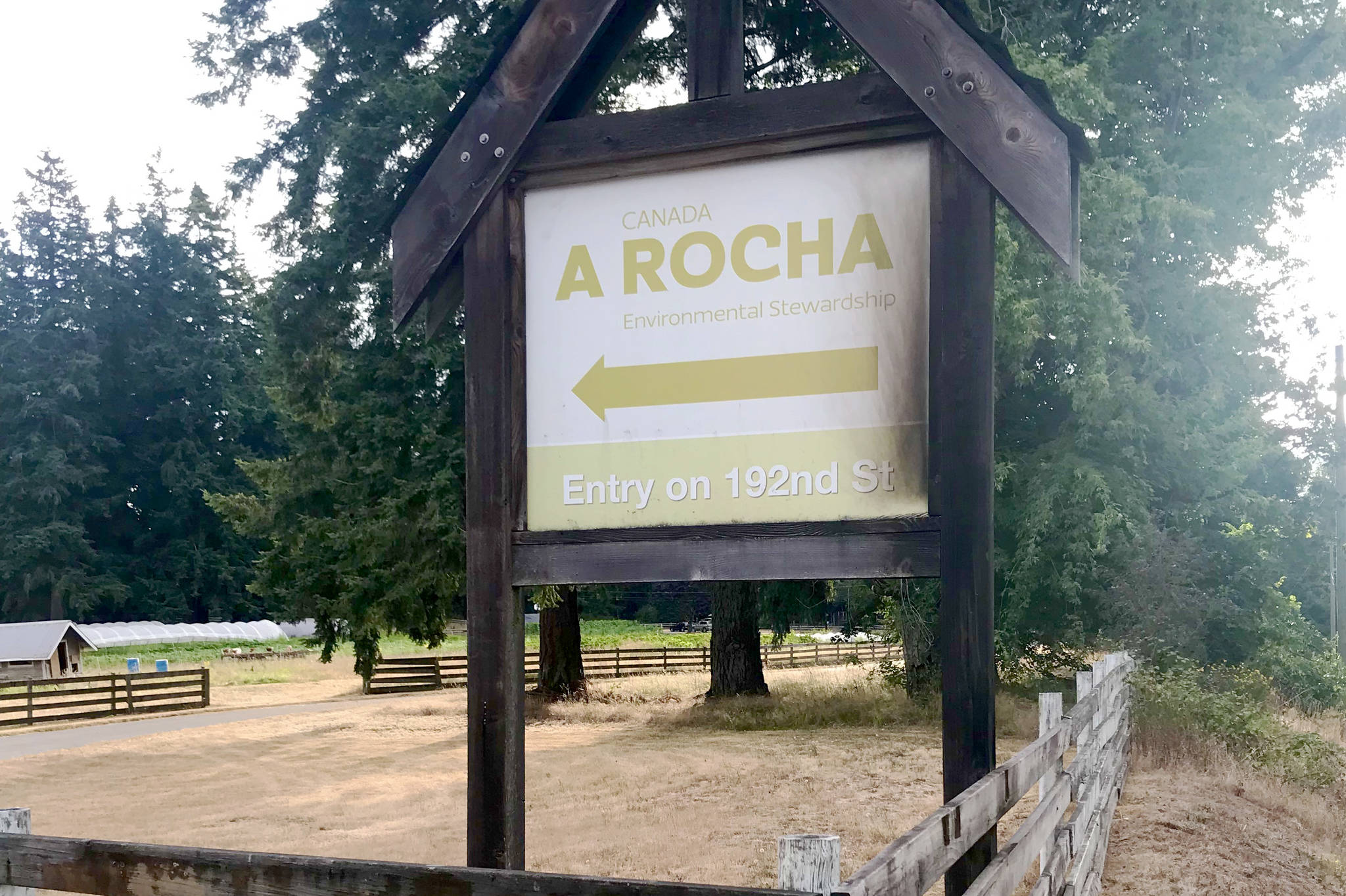 A sign pointing towards the main A Rocha driveway was set on fire early Saturday (July 17, 2021). (Contributed photo)