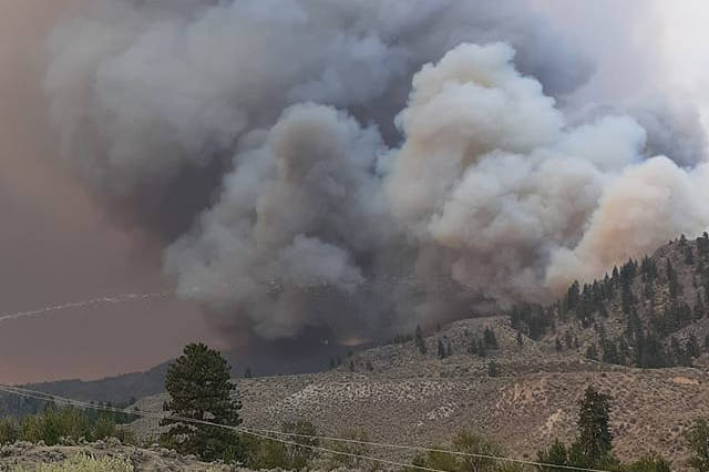 A large new fire has erupted on Inkameep Road in Oliver/Osoyoos Monday afternoon, July 19, 2021. (Karlee McCarthy Facebook)