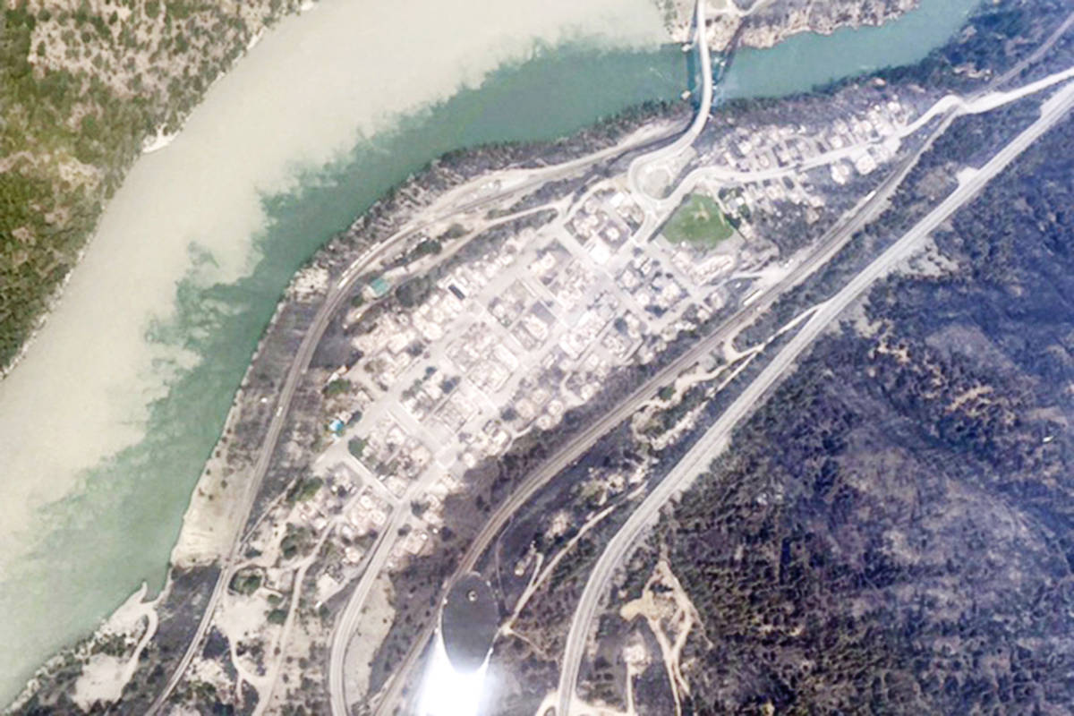 Aerial photo of Lytton after a wildfire ravaged through the village on June 30, 2021. Langley cousins Eric Fandrich and Larissa Thomson are fundraising to help their family whose businesses and homes were destroyed in the community. (Eric Fandrich/Special to Langley Advance Times)