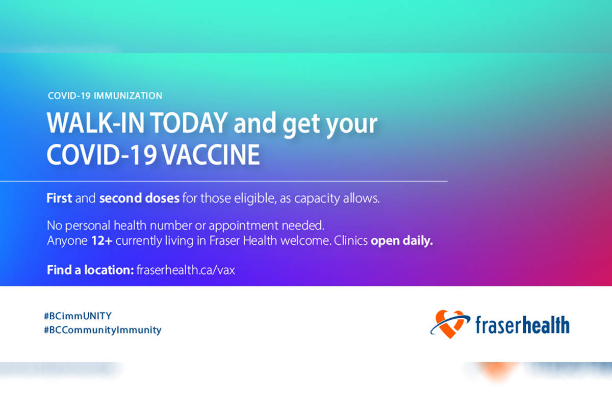 Fraser Health is hosting a COVID-19 vaccine clinic on Tuesday, July 20, 2021 at the Aldergrove FreshCo from 12-4 p.m. (Fraser Health/Twitter)
