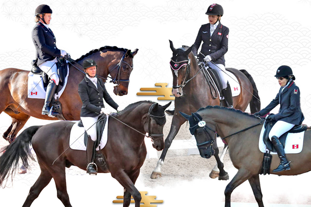 Lauren Barwick & Sandrino, Noni Hartvikson & Onyx, Roberta Sheffield & Fairuza, and Jody Schloss & Lieutenant Lobin will be competing for Canada in Para equestrian at the Tokyo 2020 Paralympic Games. (CNW Group/Canadian Paralympic Committee)