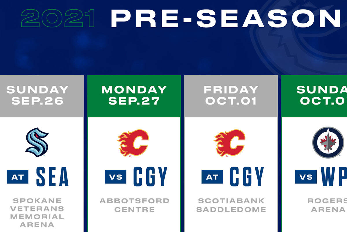Abbotsford Centre will host a pre-season game featuring the Vancouver Canucks and the Calgary Flames. (Canucks Twitter photo)