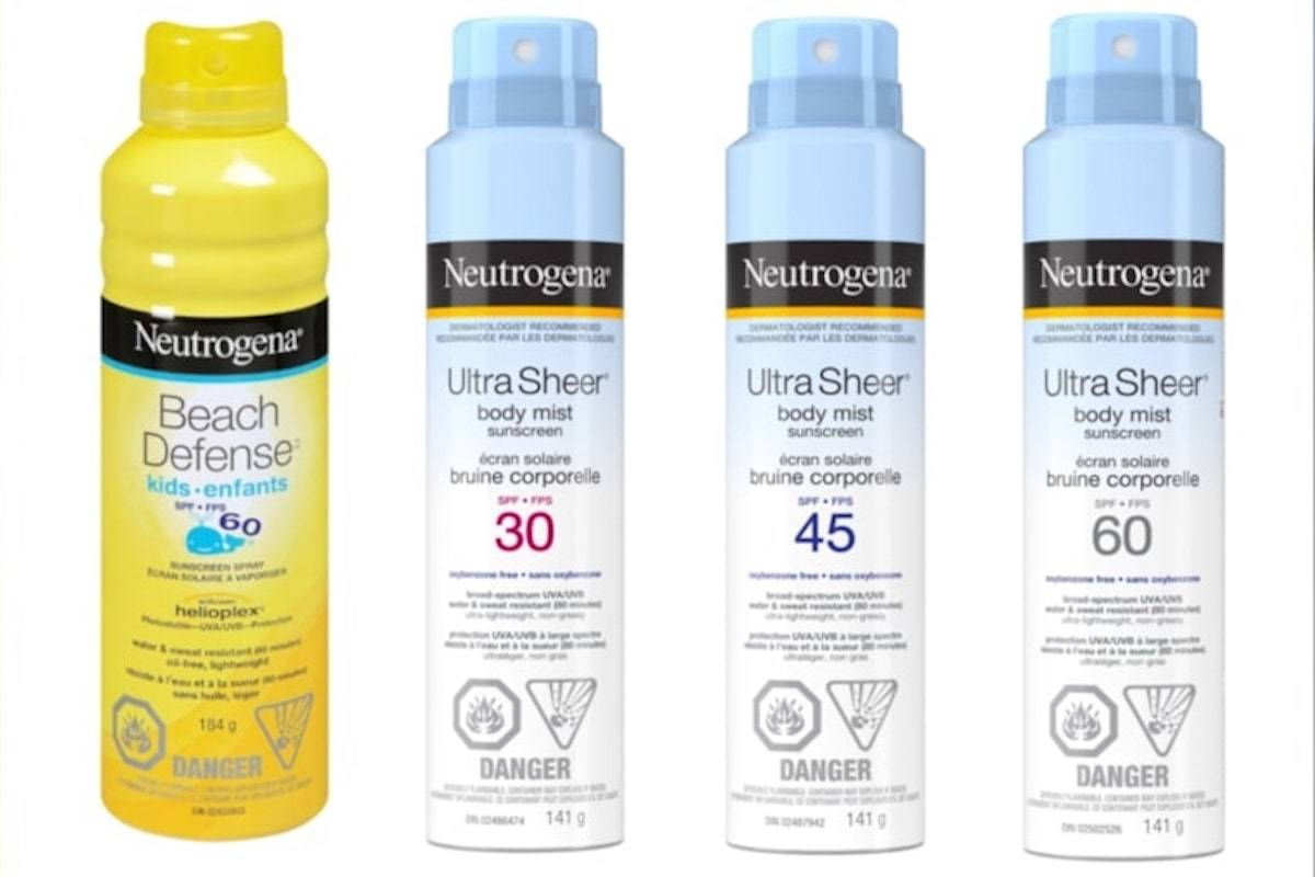 Neutrogena Beach Defense and Ultra Sheer sunscreens have been recalled by Johnson & Johnson Inc. due to elevated levels of benzene. July 17, 2021. (Source: Health Canada)