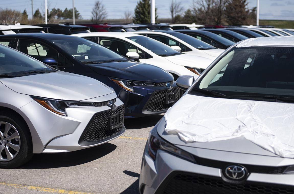 New Toyota cars for sale are seen at an auto mall in Ottawa, on Monday, April 26, 2021. THE CANADIAN PRESS/Justin Tang
