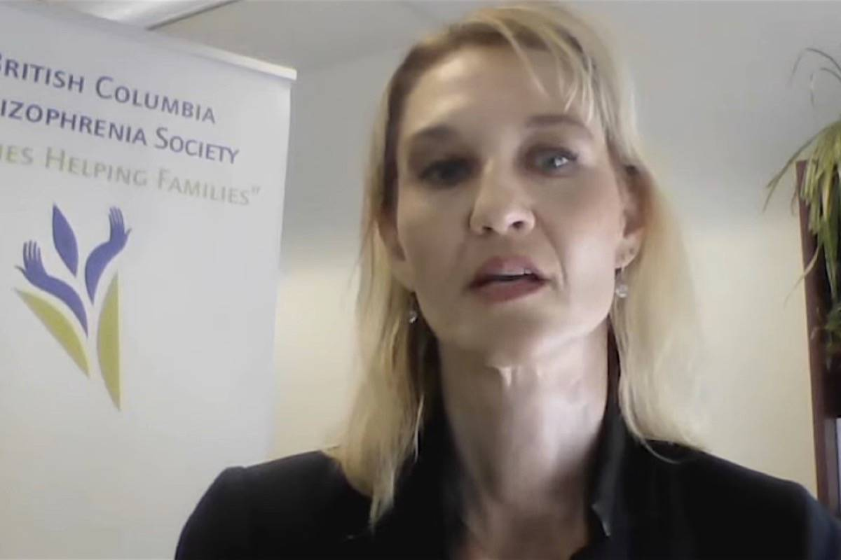 Faydra Aldridge, CEO of the B.C. Schizophrenia Society, speaks at a funding announcement July 20, 2021. (B.C. government video)