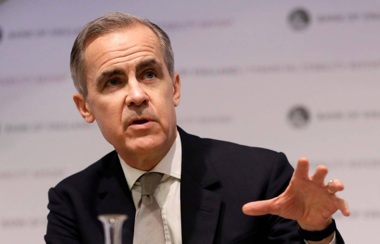 Mark Carney, Governor of the Bank of England speaks at a Bank of England Financial Stability Report Press Conference, in London. THE CANADIAN PRESS/AP/Kirsty Wigglesworth