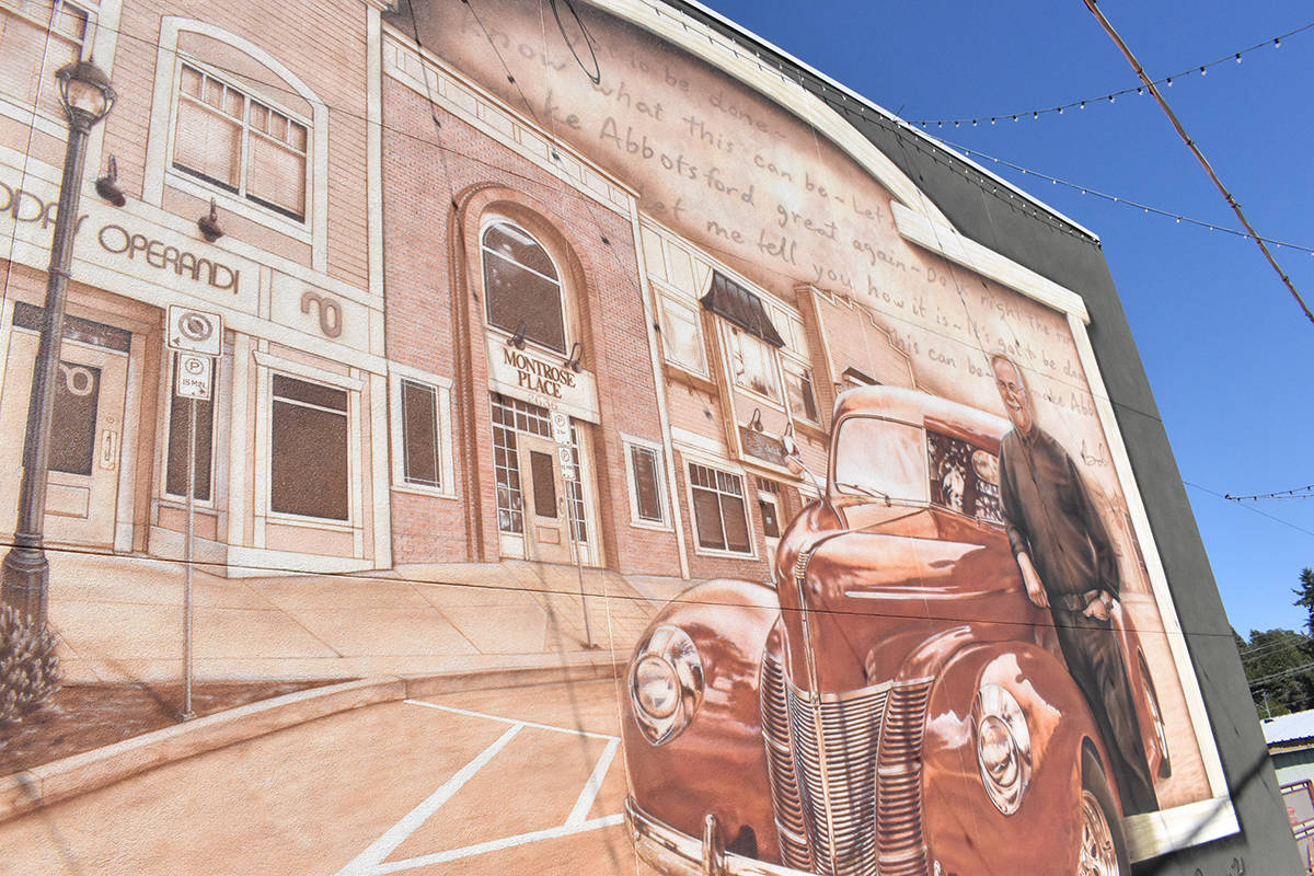 A mural containing the phrase 'make Abbotsford great again' was created without the approval of the Downtown Abbotsford Business Association. (Ben Lypka/Abbotsford News)