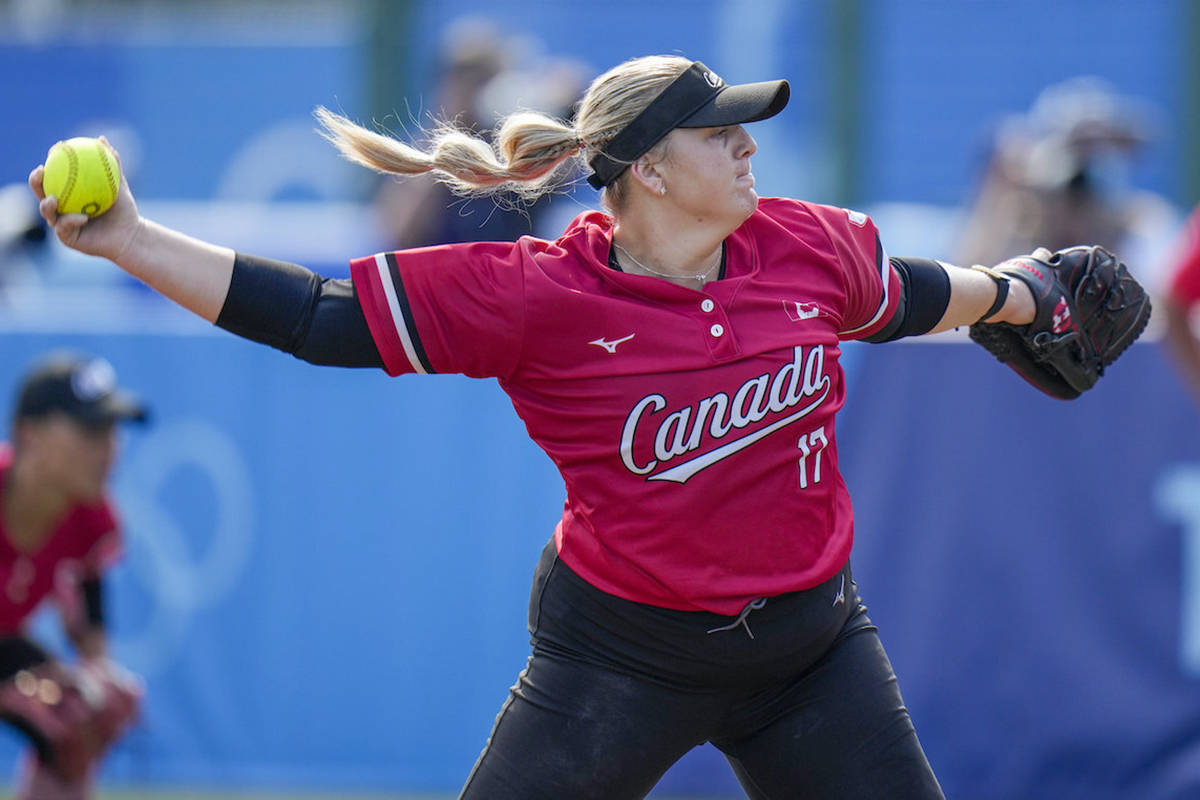 Canada's Sara Groenewegen pitches during the softball game between Mexico and Canada at the 2020 Summer Olympics, Wednesday, July 21, 2021, in Fukushima , Japan. (AP Photo/Jae C. Hong)