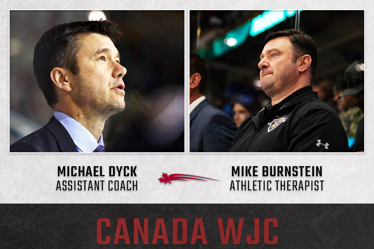 Giants head coach Michael Dyck and Giants athletic therapist Mike Burnstein have been named to Canada's national junior hockey team. (Jamison Derksen/Giants)