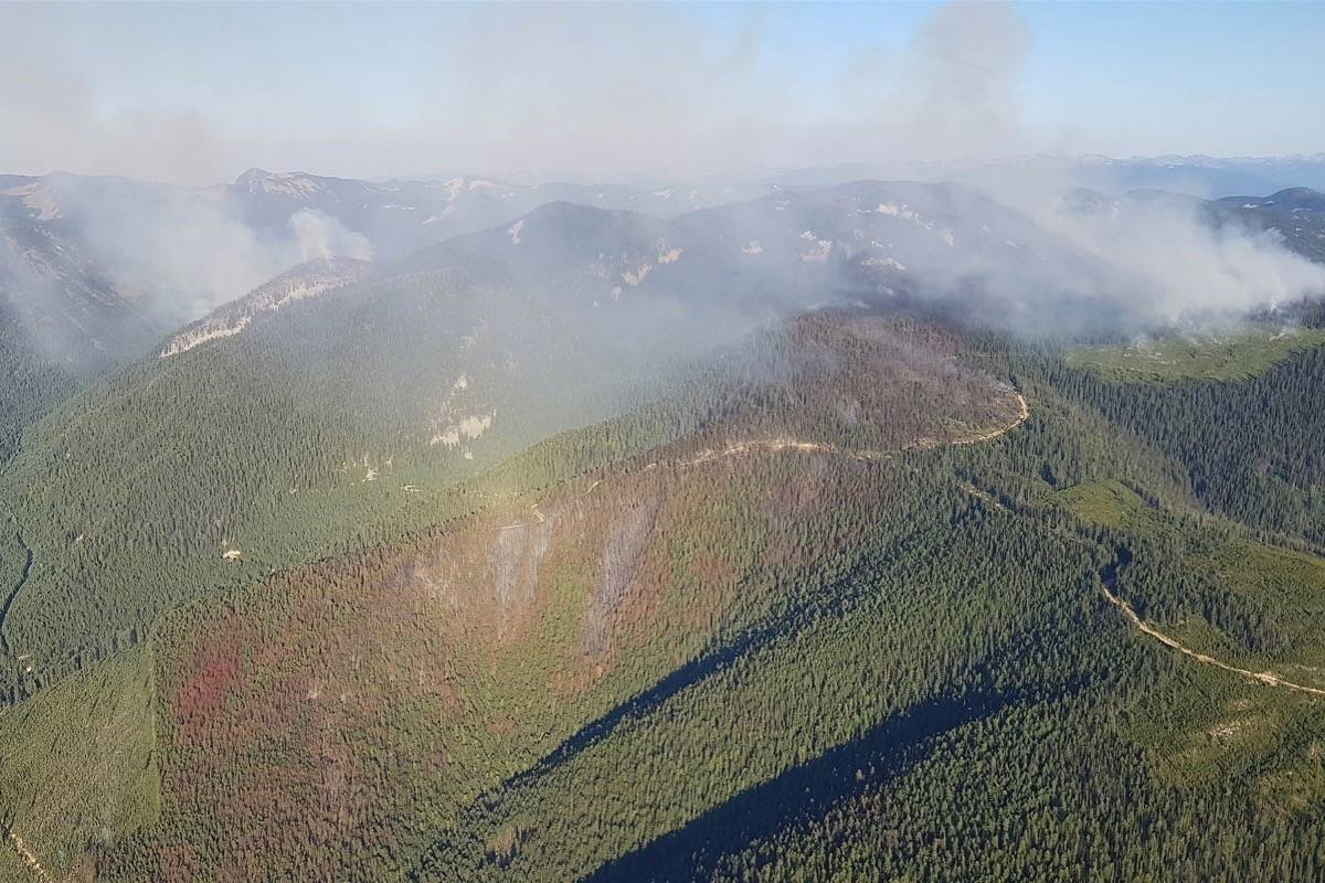 Trozzo Creek fire 7.5 km northeast of Winlaw in the B.C. Kootenay region, July 17, 2021. As of July 21 the fire is estimated at 1,100 hectares, out of control but not threatening structures. (B.C. Wildfire Service)
