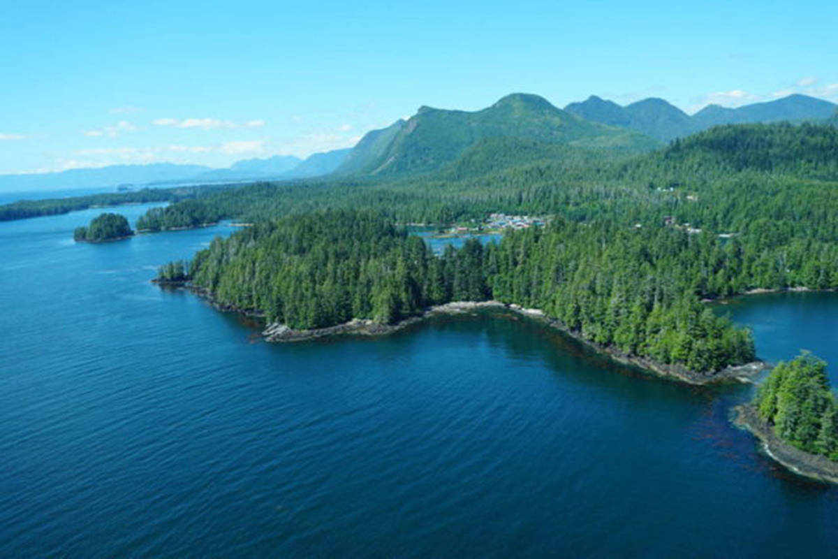 An aerial view of Kyuquot. (Photo courtesy, Walters Cove Resort)