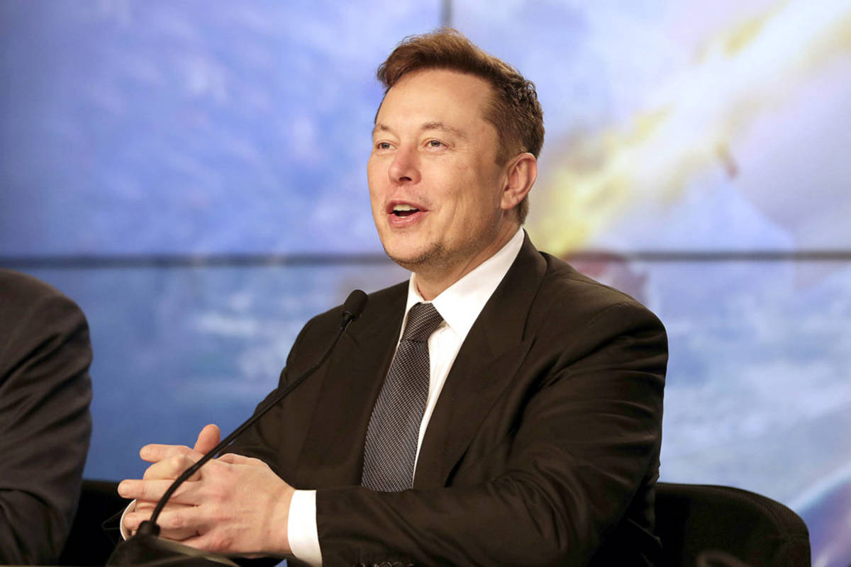 FILE - In this Jan. 19, 2020, file photo Elon Musk, Tesla CEO, speaks during a news conference at the Kennedy Space Center in Cape Canaveral, Fla. (AP Photo/John Raoux, File)