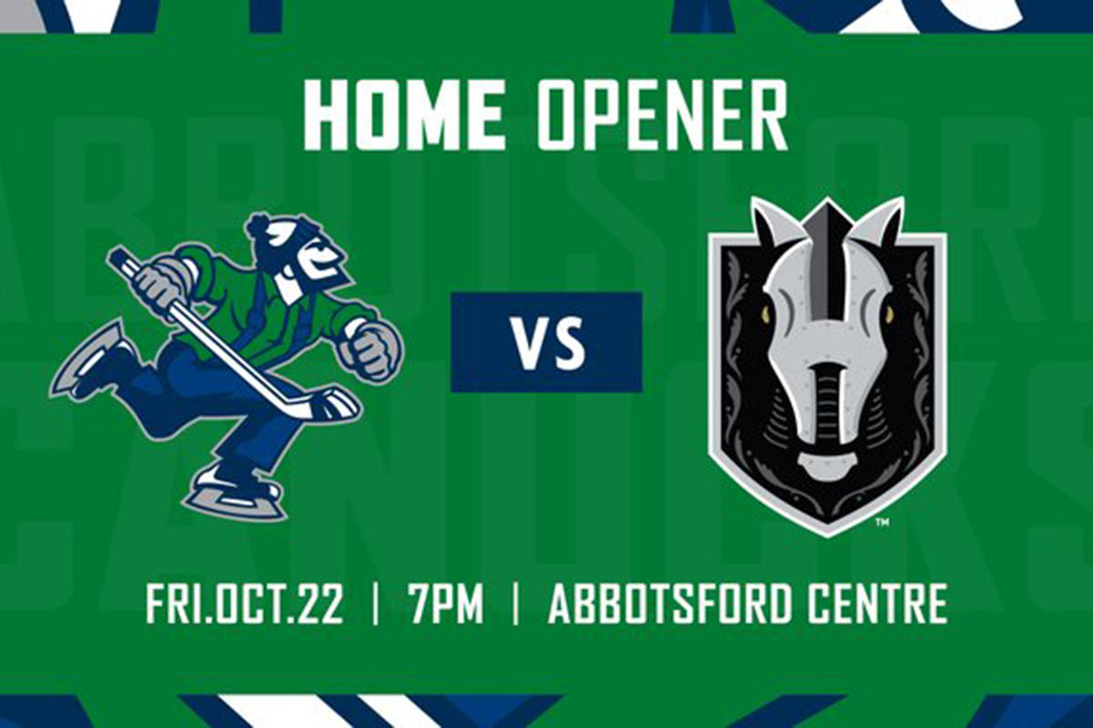 The Abbotsford Canucks home opener is set for Oct. 22 against the Henderson Silver Knights. (Canucks Twitter photo)