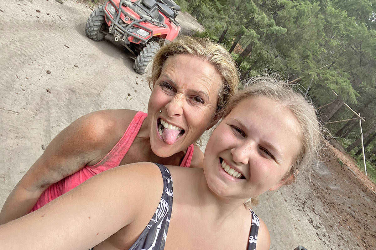 About 20 minutes after taking this light-hearted selfie, Brookswood residents Pam Ingeberg-Cannon (L) and Tiahna Cannon were involved in a crash on a gravel road in the Gun Lake area on Saturday, July 17 that seriously injured Pam. (Special to Langley Advance Times)