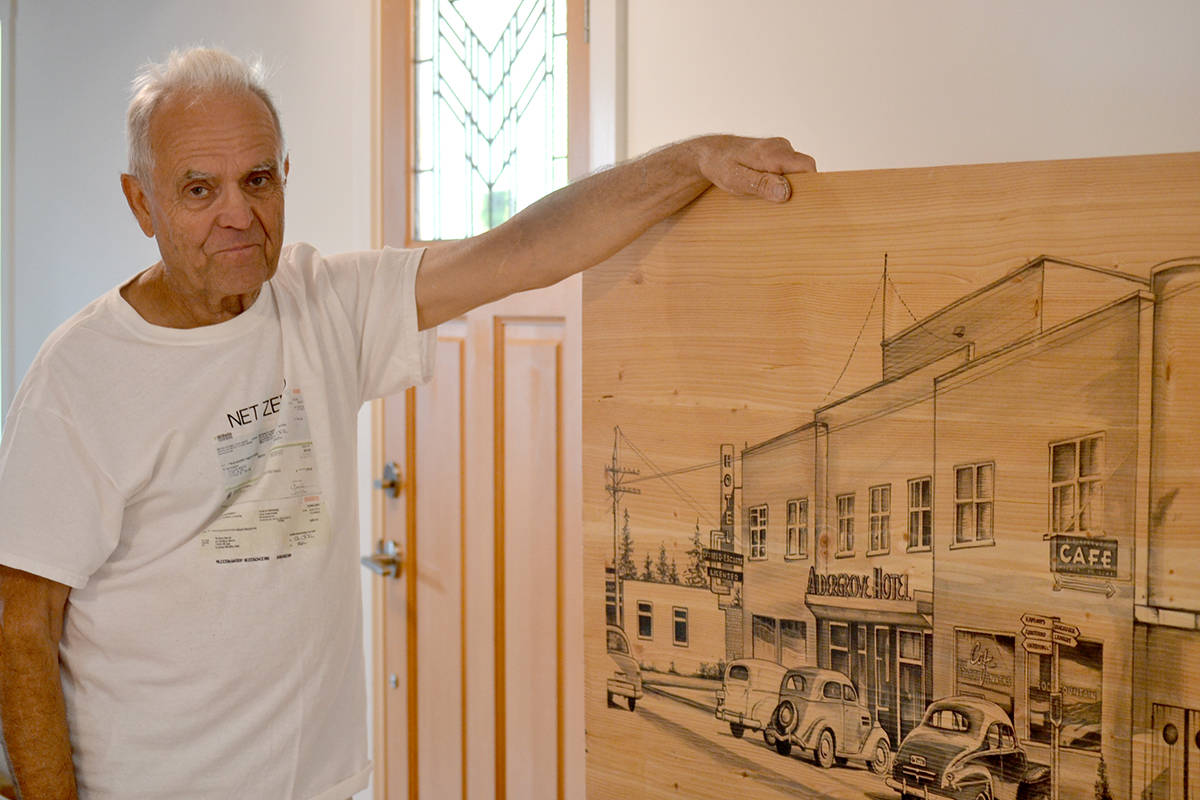Woodworker Wally Martin used lumber from the former Alder Inn to craft a mural that honours the buildings history. (Ryan Uytdewilligen/The Star)