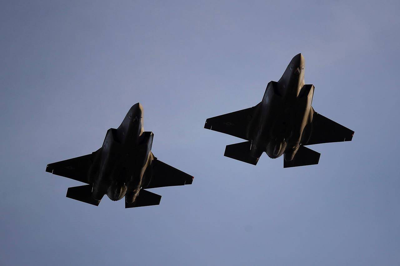 In this Nov. 1, 2018, file photo U.S. Air Force F-35 A-fighter jets from 31st Test Evaluation Squadron at Edwards AFB fly over Levi's Stadium before an NFL football game between the San Francisco 49ers and the Oakland Raiders in Santa Clara, Calif. Canada has quietly made another multimillion-dollar payment toward development of the F-35 stealth fighter despite uncertainty over whether it will buy the stealth fighter and calls from some prominent Canadians not to purchase any new fighter jets.THE CANADIAN PRESS/AP/Ben Margot
