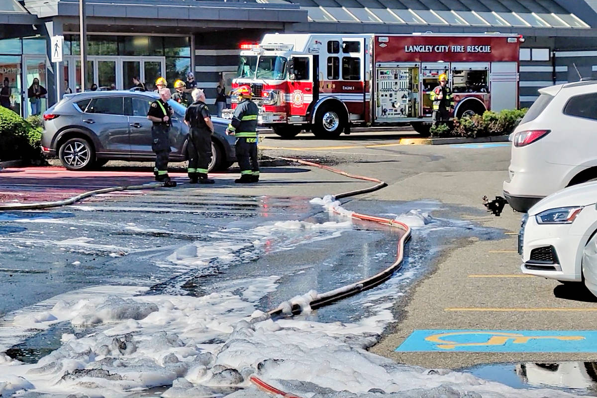 A parking lot fire forced the evacuation of parts of the Willowbrook Shopping Centre on Wednesday, July 21. (Dan Ferguson/Langley Advance Times)