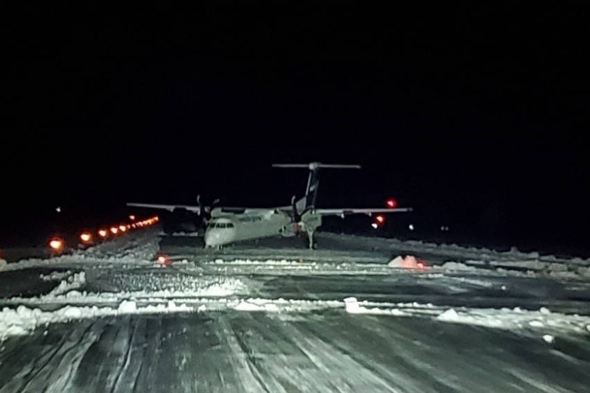 The Transportation Safety Board of Canada identified snow as a contributing factor in an incident at the Northwest Regional Airport Jan 31, 2020 that resulted in the collapse of a WestJet aircraft's nose landing gear. (Northwest Regional Airport/Transportation Safety Board of Canada)