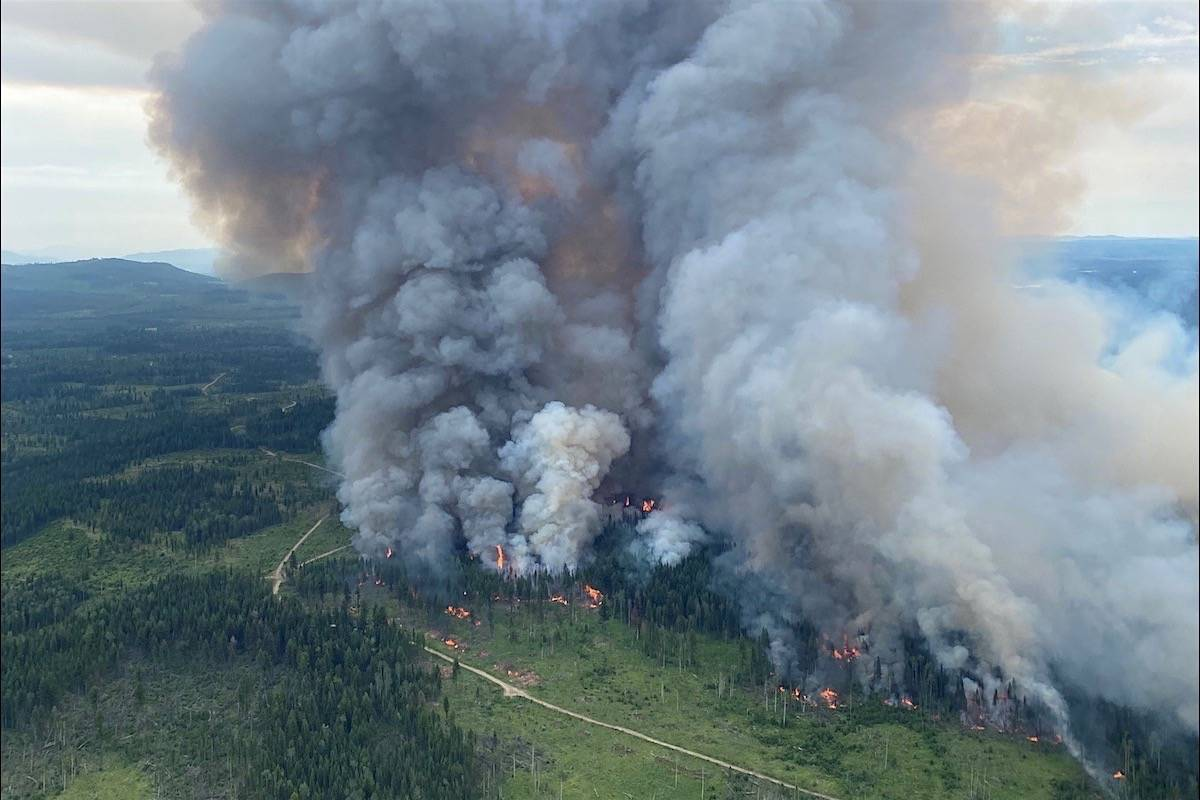 Firefighters ignite back-burn on the Deka Lake wildfire near 100 Mile House, July 5, 2021. (B.C. Wildfire Service)