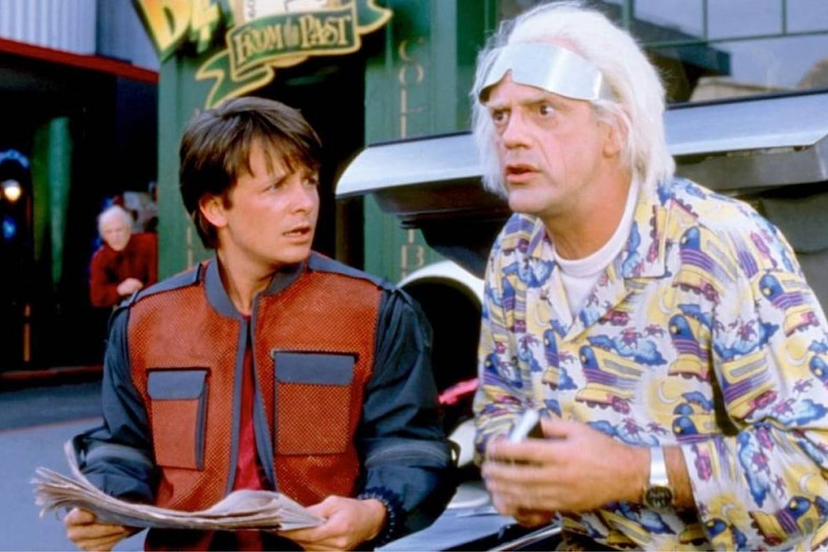 """A scene from the 1985 movie """"Back to The Future,"""" which stars Burnaby-raised Michael J. Fox (left) and Christopher Lloyd."""