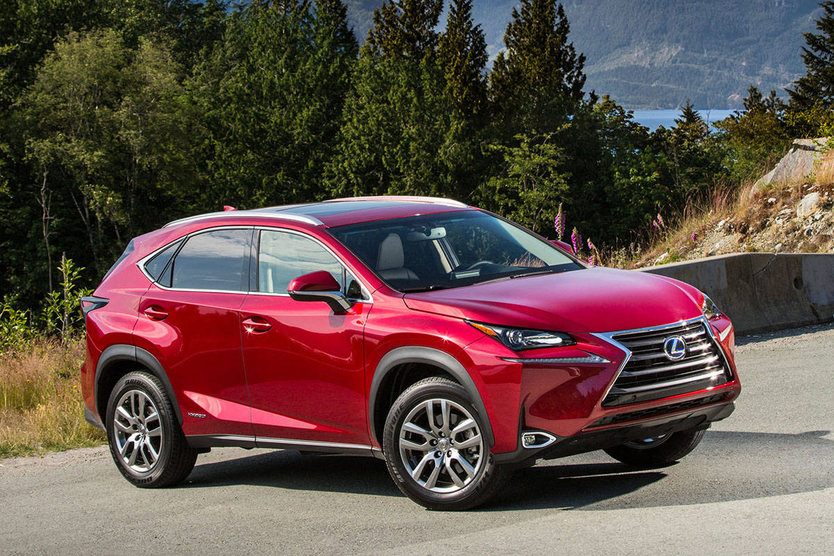 The NX 300h's styling is loaded with dips, dives, creases and sharp edges. It looks a lot sportier than it really is with a zero-to-60-mph (96 km/h) time of a leisurely 9.1 seconds. The important number, however, is the in-city fuel-economy number that's 50 per cent better than the non-hybrid's. PHOTO: LEXUS