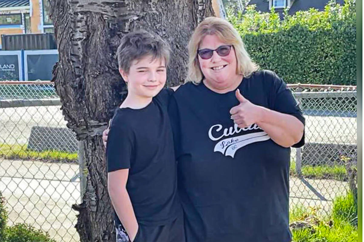 Linda Montemurro of Fort Langley is grateful her nephew, Ryder, was with her while kayaking in Cultus Lake. She credits him with saving her life. (Linda Montemurro/Special to Black Press Media)