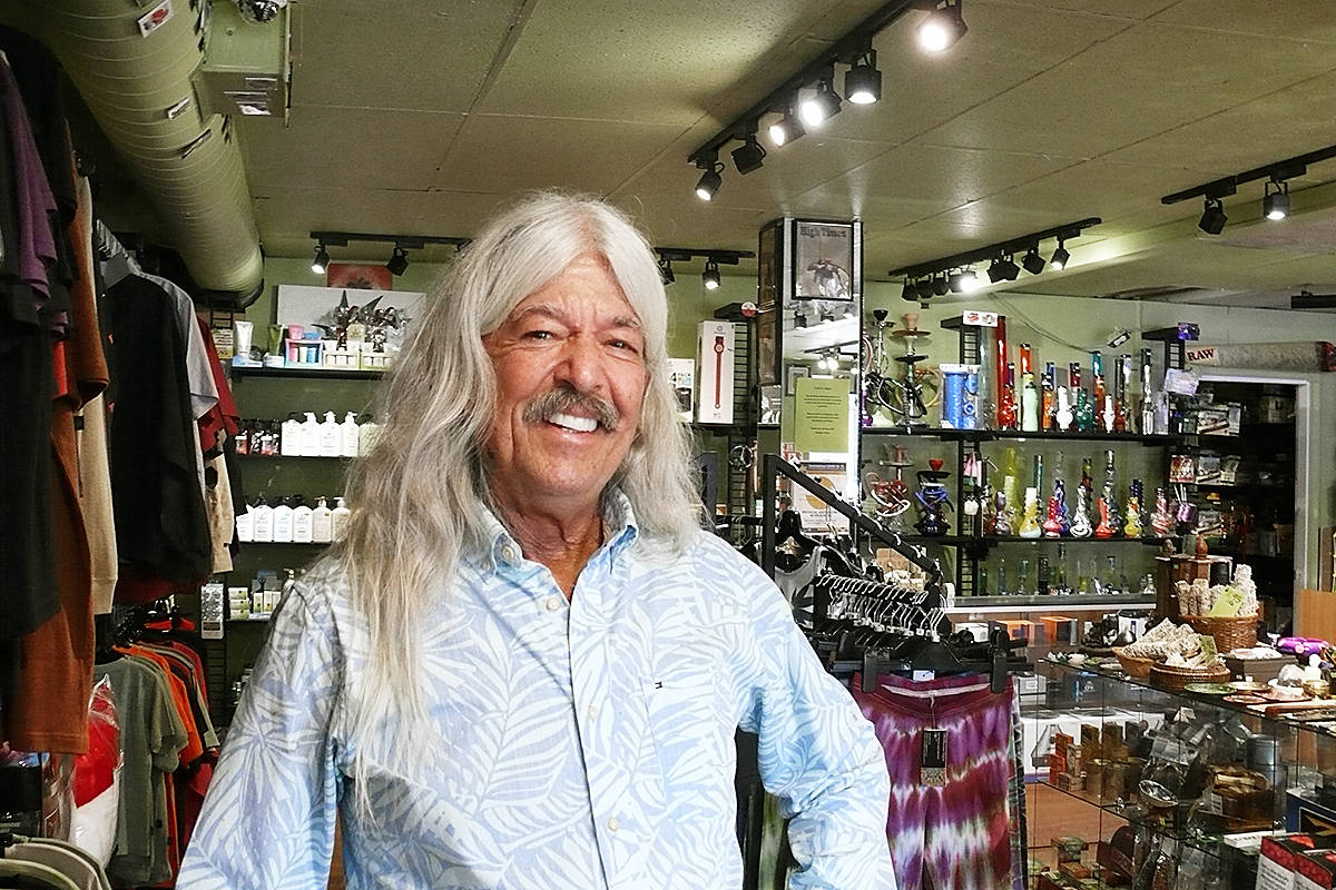 Randy Caine, seen here inside his store on the Langley City one-way Sept. 21, 2020, has passed away. (Langley Advance Times files)